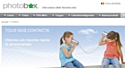Page d'accueil du site de Photobox