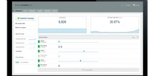 Page d'accueil de l'application e-CRM de GeniusContacts
