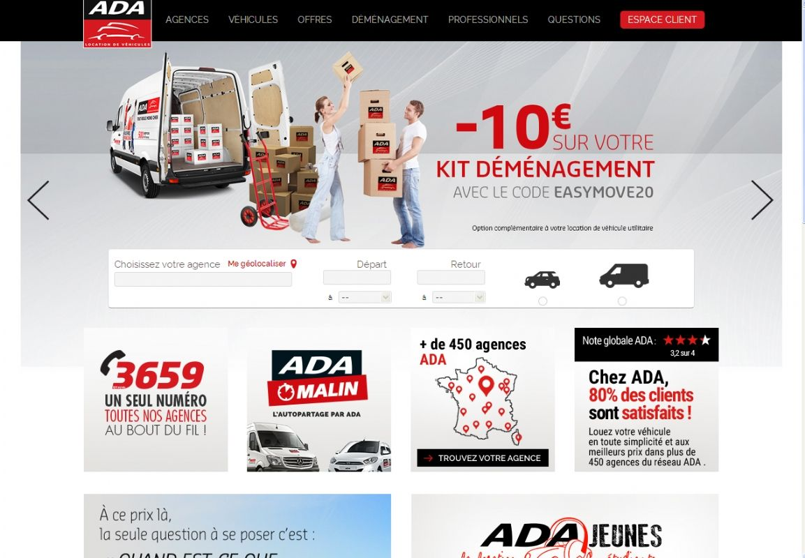 Ada cr e une nouvelle plateforme on line for Location agence